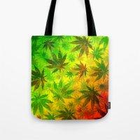 marijuana Tote Bags featuring Marijuana Leaves Rasta Colors by BluedarkArt