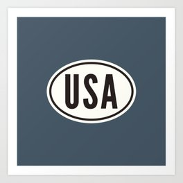 United States 'USA' Oval Car Sticker Design • Blue Art Print