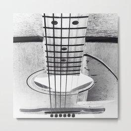 Guitar Strings - Black and White Metal Print