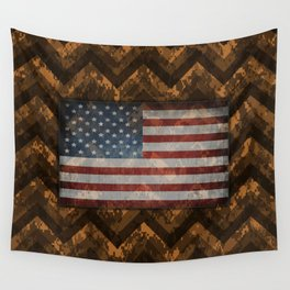 Copper Orange Digital Camo Chevrons with American Flag Wall Tapestry