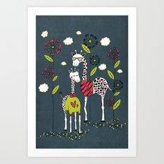 Fashion Giraffes Art Print