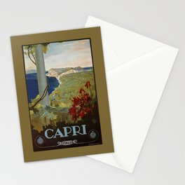 Isle of Capri Italian travel ad Stationery Cards