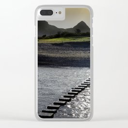 Stepping stones at Three Cliffs Bay Clear iPhone Case