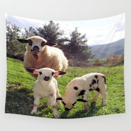 Ewe and Twin Spring Lambs Wall Tapestry