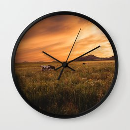 Longhorn Sunset Wall Clock