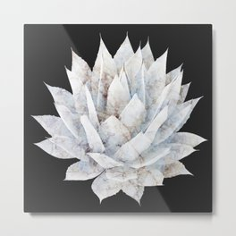 Agave White Marble Metal Print