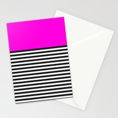 STRIPE COLORBLOCK {PINK} Stationery Cards