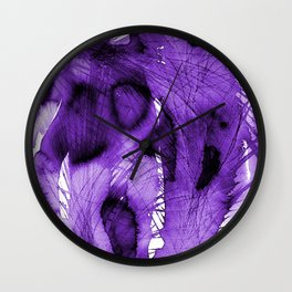Purple abstract feathers Wall Clock