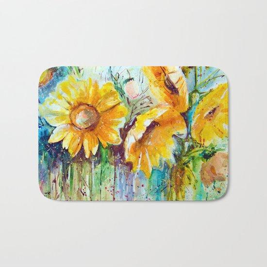 bouquet of sunflowers Bath Mat