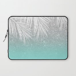 Modern tropical white palm tree silver glitter ombre on robbin egg blue turquoise Laptop Sleeve