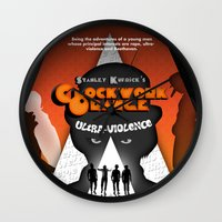 clockwork orange Wall Clocks featuring A Clockwork Orange by Martin Woutisseth