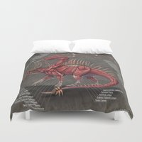 muscle Duvet Covers featuring Western Dragon Muscle Anatomy by Rushelle Kucala Art