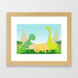 Friendly dinosaurs Framed Art Print