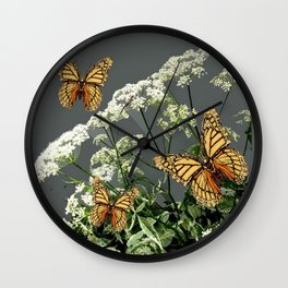"""CREAM COLORED BUTTERFLIES """"SPRING SONG"""" LACE FLOWERS Wall Clock"""