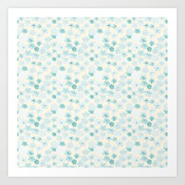 Simple flower pattern(blue) Art Print