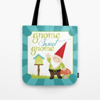 gnome Tote Bags featuring Gnome sweet gnome by Ink Tree Press by Erin Rippy