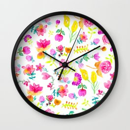 Boho bouquet hand painted watercolor floral Wall Clock