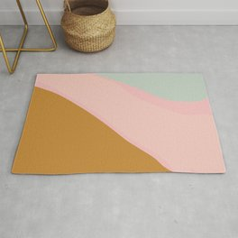 Abstract Painting in Muted Colors of Sage, Blush, and Gold Rug