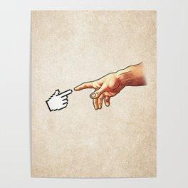 Funny 8bit Nerd & Geek Humor (Creation of Adam Parody) Poster
