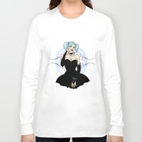 pinup Long Sleeve T-shirts featuring Goth Pinup by CatAstrophe