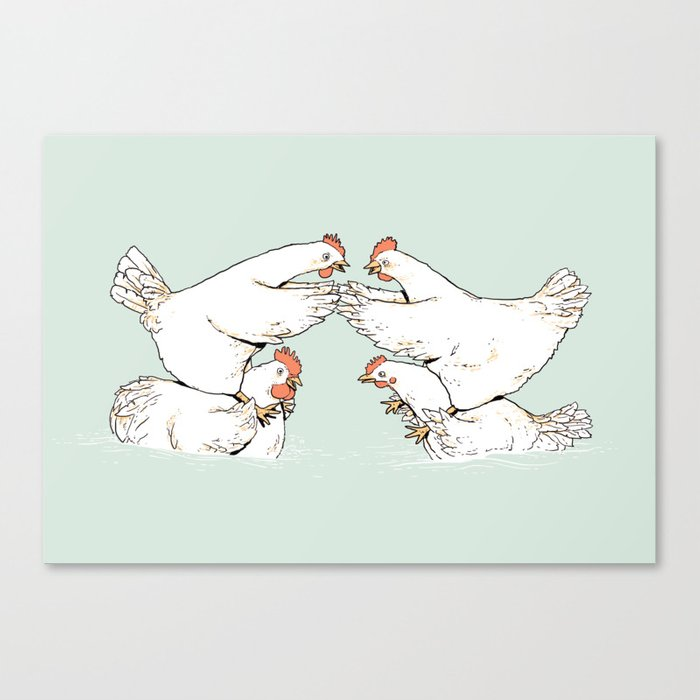 Chicken Fight Canvas Print