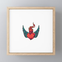 Winged Fiery Red Heart Concept Framed Mini Art Print