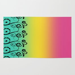 Misty Rainbow Swirl Digital Illustration, Multi Colored Artwork Rug