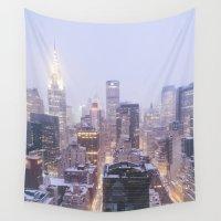 new york skyline Wall Tapestries featuring New York City Skyline by Vivienne Gucwa