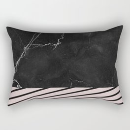 MARBLE & PALE DOGWOOD STRIPES Rectangular Pillow