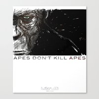 planet of the apes Canvas Prints featuring APES DON'T KILL APES by Twinky Wood