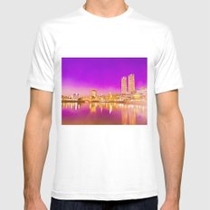 Concrete water reflection. MEDIUM White Mens Fitted Tee