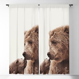 Woodlands Nursery Decor, Bear Mother Print, Baby Bear Print Blackout Curtain