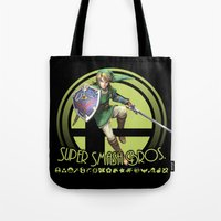 smash bros Tote Bags featuring Link - Super Smash Bros. by Donkey Inferno
