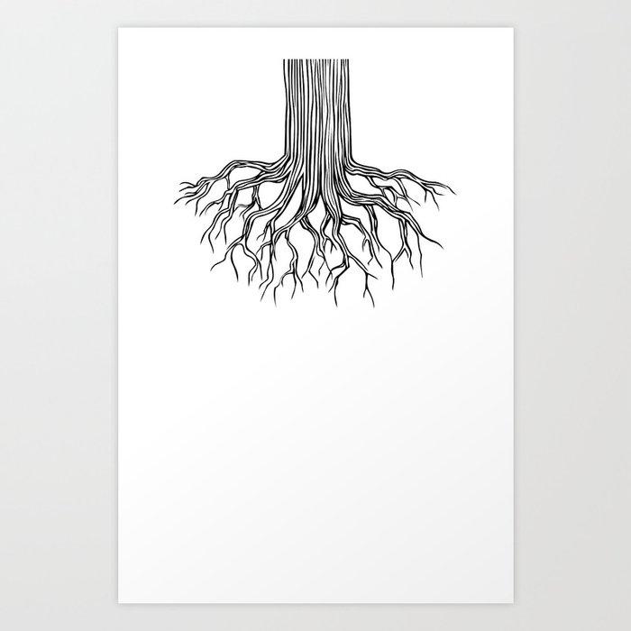 Tree Root Drawing (black on white) Art Print