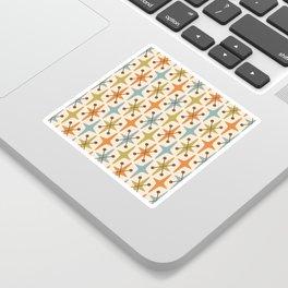 Mid Century Modern Abstract Star Pattern 441 Orange Brown Blue Olive Green Sticker