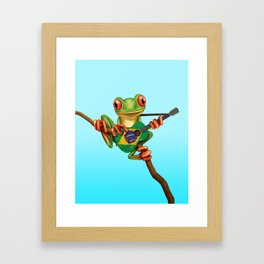 Tree Frog Playing Acoustic Guitar with Flag of Brazil Framed Art Print