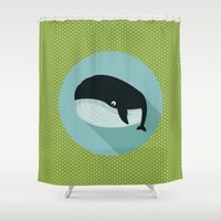 the whale Shower Curtains featuring Whale by Mr & Mrs Quirynen
