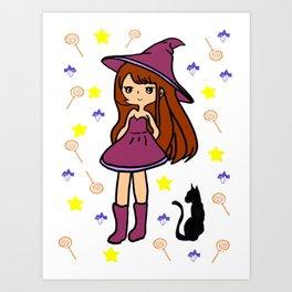 mini sorciere chat noir halloween Art Print