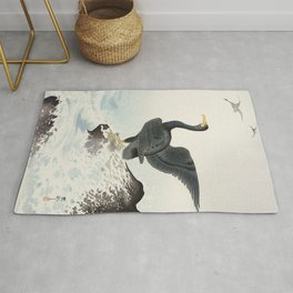 Cormorants at stormy sea - Japanese vintage woodblock print art Rug