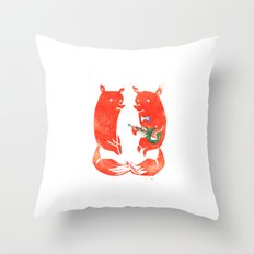 Mister Fox in love Throw Pillow