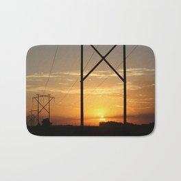 Kansas Power line Sunset Bath Mat