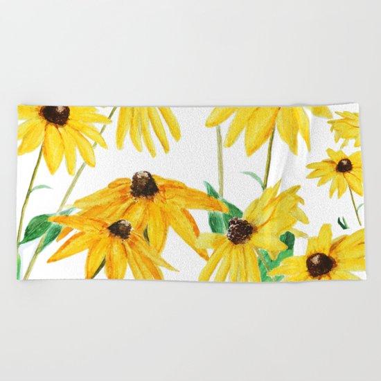 yellow sun choke flower Beach Towel