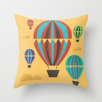 hot air balloons Throw Pillows featuring Hot Air Balloons by Marina Design