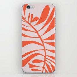 Blush Pink Red Tropical Leaf iPhone Skin