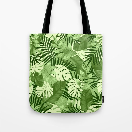 Green Tropical Leaves Pattern Tote Bag