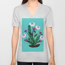 Green and Purple Bouquet Unisex V-Neck