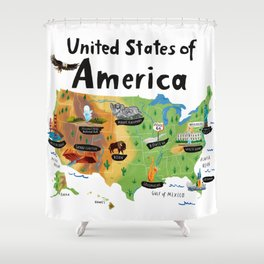 Map of USA Shower Curtain