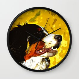 bernese mountain dog vector art Wall Clock