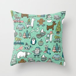 Christmas Time, Christmas Critter, Aqua Blue, Holly Jolly Holiday Pattern Throw Pillow