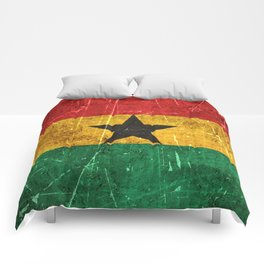 Vintage Aged and Scratched Ghana Flag Comforters